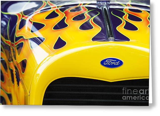 Flaming Hot Rod Greeting Card by Tim Gainey