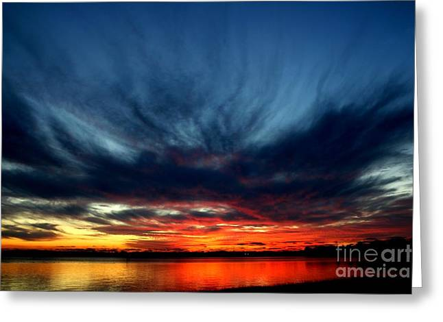 Flaming Hues Greeting Card by Theresa Willingham