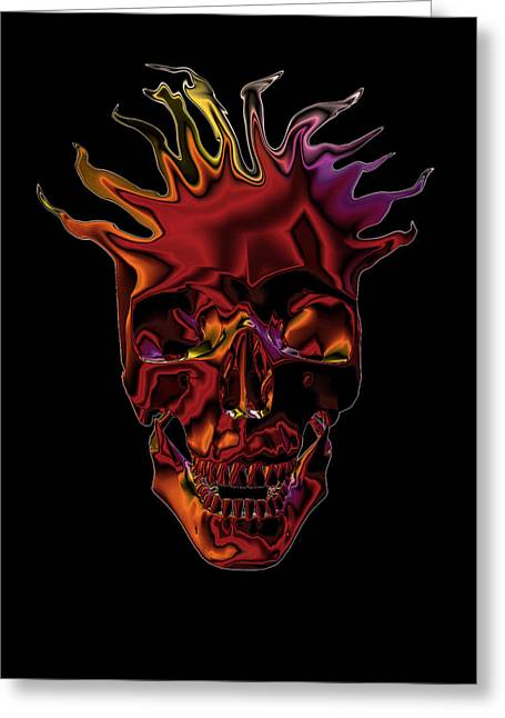 Greeting Card featuring the digital art Flaming Skull by Denise Beverly
