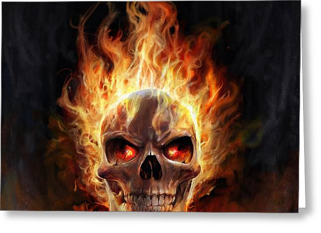 Greeting Card featuring the digital art Flaming Skull by Steve Goad