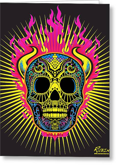 Flaming Skull Greeting Card by Tony Rubino