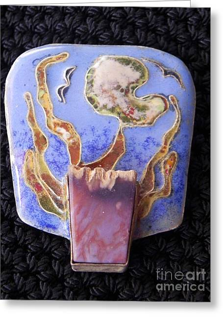 Flaming Stone Greeting Card by Patricia  Tierney