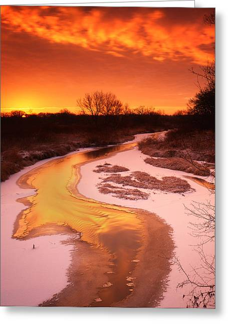 Flaming Sunrise Greeting Card by Ray Mathis
