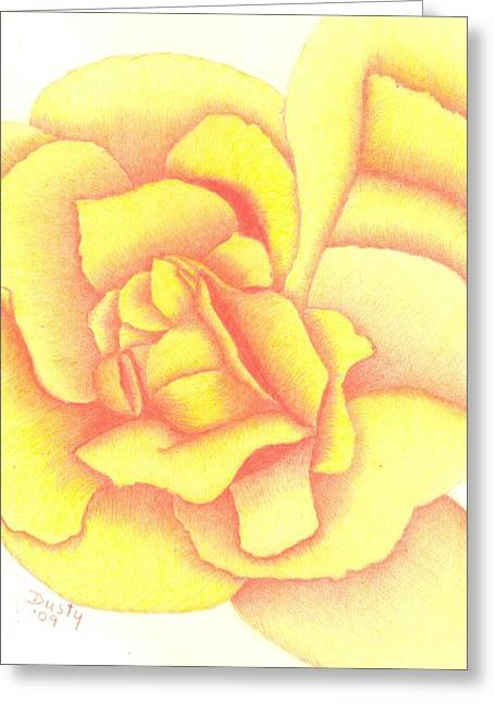 Flaming Yellow Rose Greeting Card by Dusty Reed