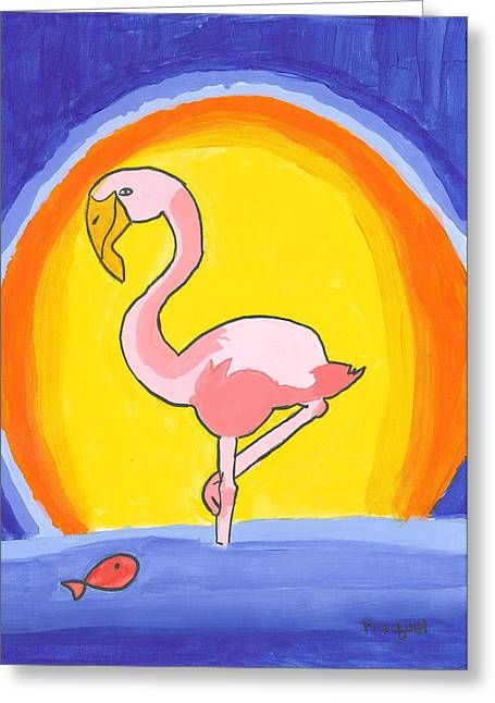 Greeting Card featuring the painting Flamingo At Sunset by Fred Hanna