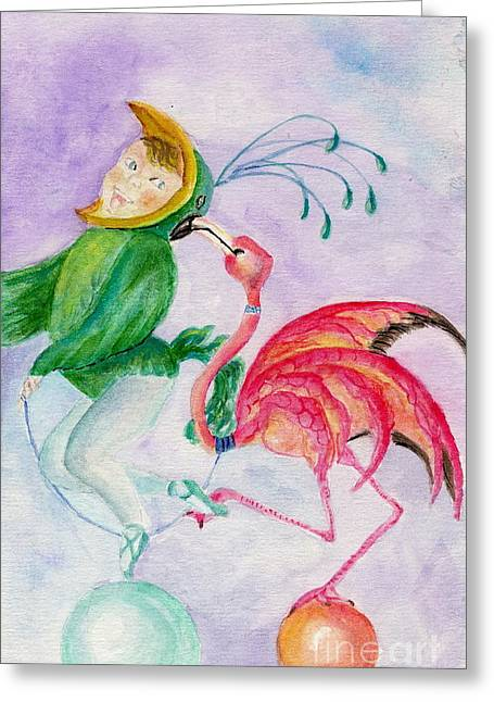 Flamingo Circus Greeting Card