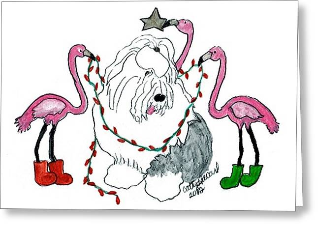 Flamingo Decorators Greeting Card