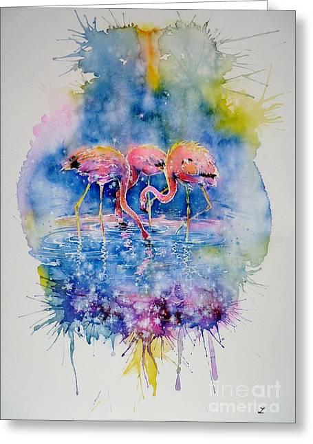 Flamingo Glare Greeting Card by Zaira Dzhaubaeva