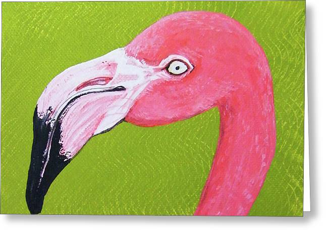 Flamingo Head Greeting Card