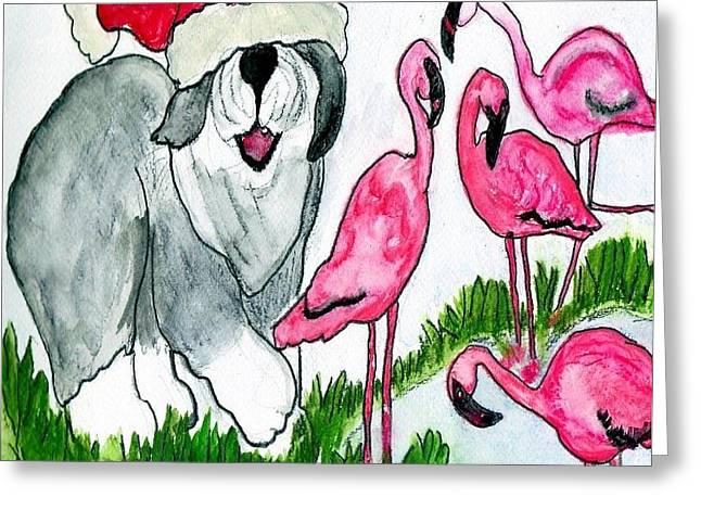 Flamingo Herder Greeting Card