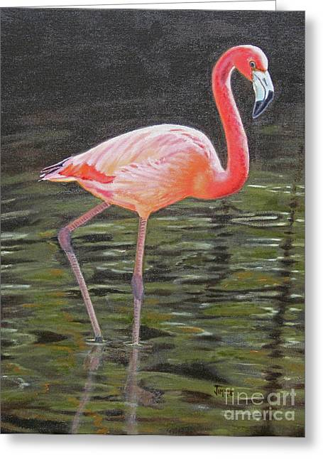 Greeting Card featuring the painting Flamingo On Parade by Jimmie Bartlett