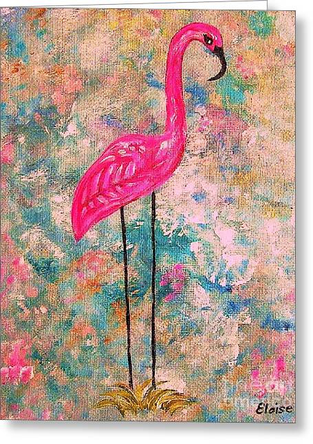 Flamingo On Pink And Blue Greeting Card by Eloise Schneider