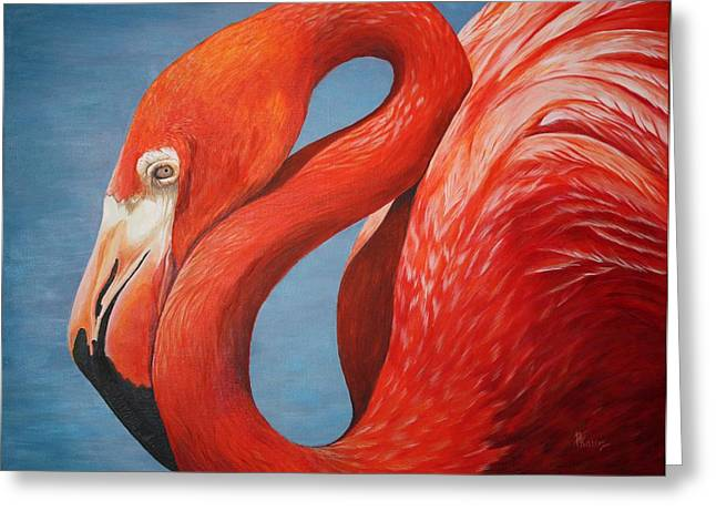Flamingo Greeting Card by Pam Kaur
