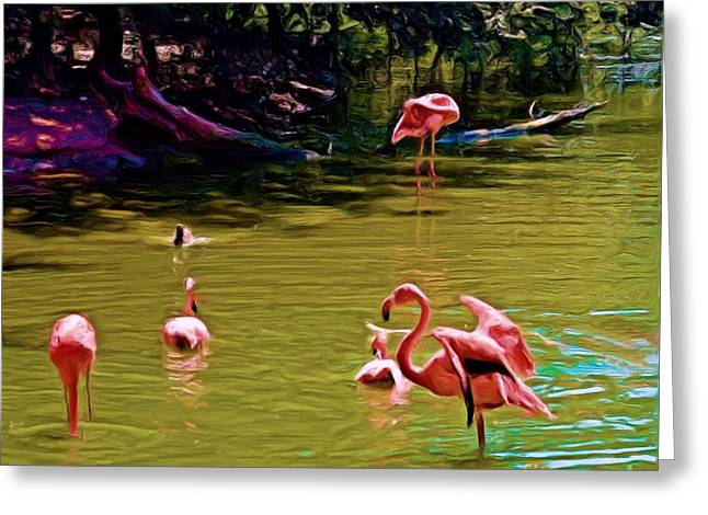Flamingo Party Greeting Card by Luther Fine Art