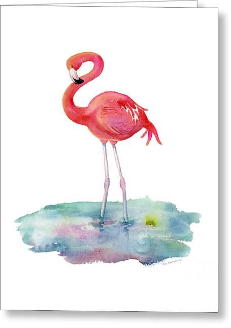 Flamingo Pose Greeting Card