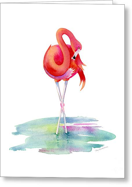 Flamingo Primp Greeting Card by Amy Kirkpatrick