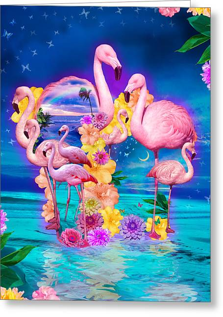 Flamingo Shape Wbackground Greeting Card