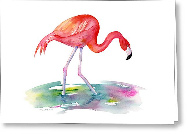 Flamingo Step Greeting Card by Amy Kirkpatrick
