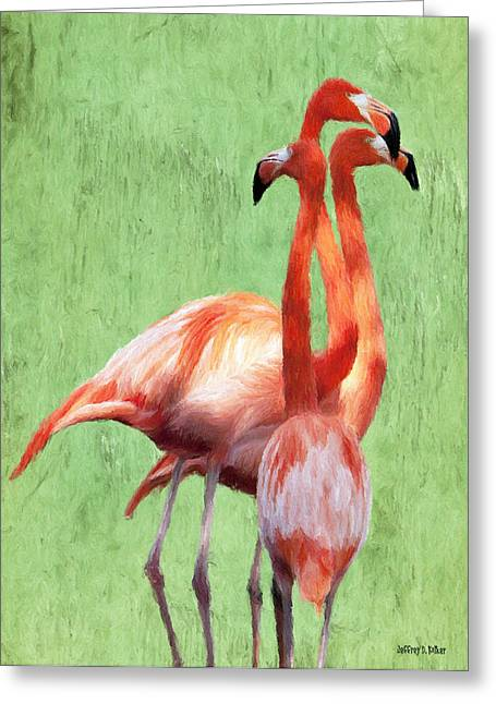 Flamingo Twist Greeting Card by Jeffrey Kolker