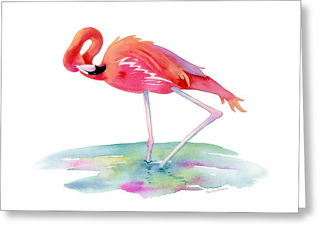 Flamingo View Greeting Card by Amy Kirkpatrick