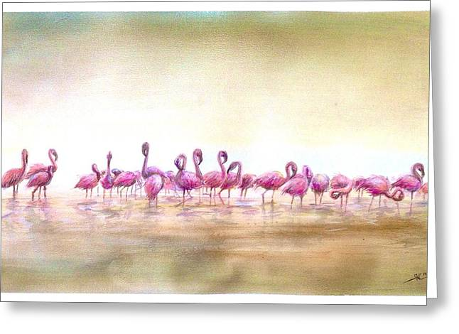 Flamingoes Land Greeting Card