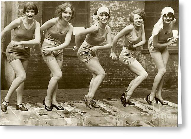 Flapper Girls Greeting Card by Jon Neidert