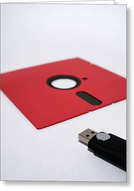 Flash Drive And Floppy Disk Greeting Card