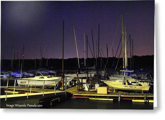 Twilight Marina Sail Boats Greeting Card