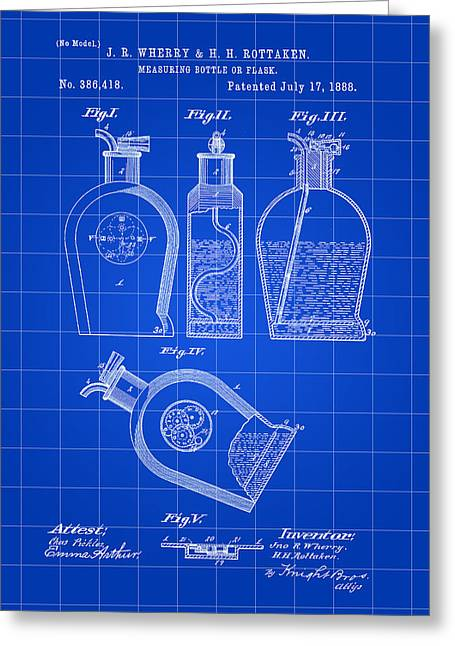 Flask Patent 1888 - Blue Greeting Card by Stephen Younts