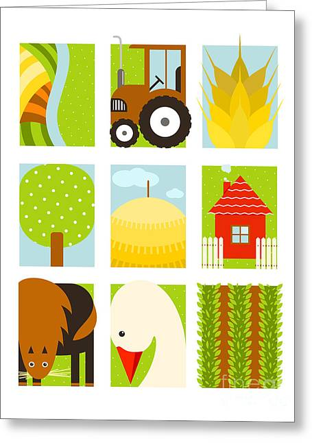 Flat Childish Rectangular Agriculture Greeting Card by Popmarleo