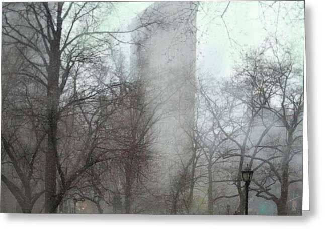 Flat Iron Building Greeting Card by Carrie Joy Byrnes