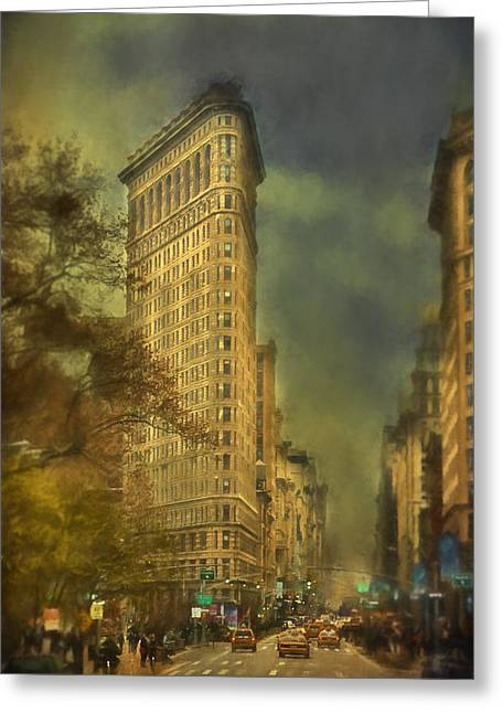 Flat Iron Building Greeting Card by Kathy Jennings