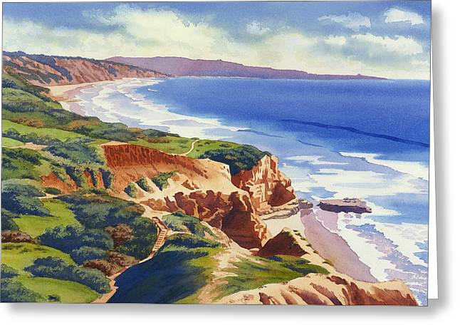 Flat Rock And Bluffs At Torrey Pines Greeting Card by Mary Helmreich