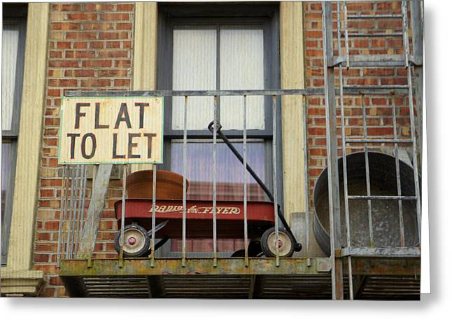 Flat To Let Greeting Card by Laurie Perry