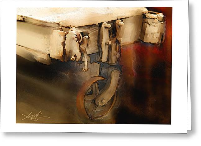 Greeting Card featuring the painting Flatbed Trolley by Bob Salo