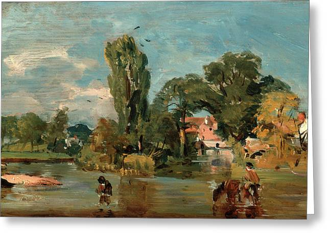 Flatford Mill, Attributed To John Constable Greeting Card