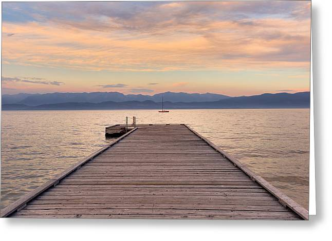 Greeting Card featuring the photograph Flathead Lake Sunset by Adam Mateo Fierro