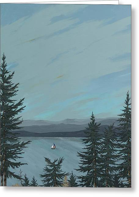 Flathead Sailboat Greeting Card by John Wyckoff
