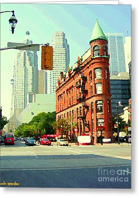 Flatiron Building And Skyline Historic Toronto Landmarks Canadian Paintings Cityscenes C Spandau Greeting Card by Carole Spandau