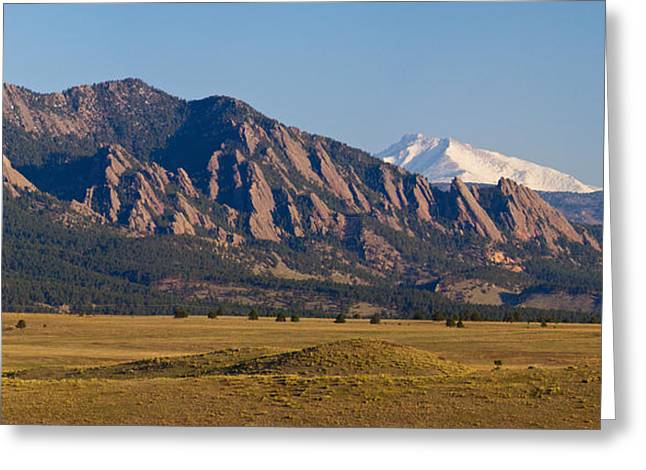 Flatirons And Snow Covered Longs Peak Panorama Greeting Card