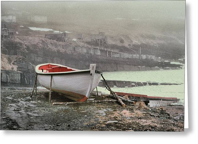 Flatrock Boat In Winter Greeting Card