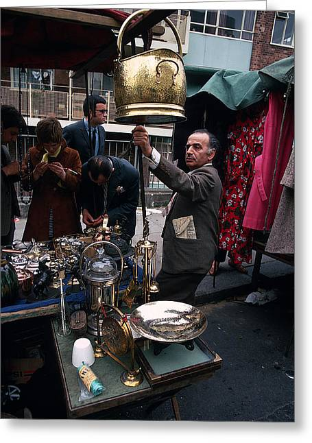 Flea Market On Portabello Road Greeting Card by Carl Purcell