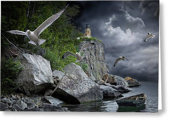 Fleeing The Coming Storm Greeting Card by Randall Nyhof