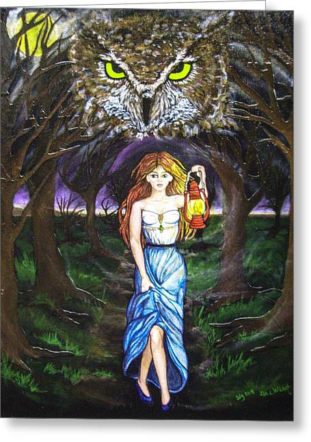 Fleeing Wisdom Into Darkness Greeting Card by Jan Wendt