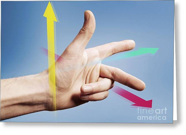 Fleming's Left Hand Rule For Motors Greeting Card by Science Photo Library