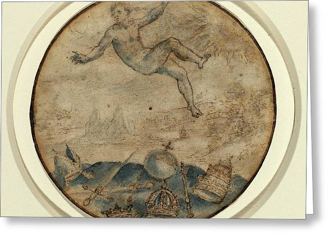 Flemish 17th Century, Man Falling From The Sky Greeting Card