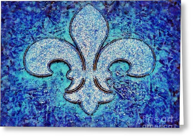 Fleur De Lis Blue Ice Greeting Card by Janine Riley