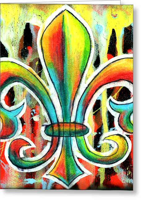 Fleur De Lis In Flames Greeting Card