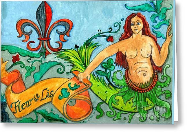 Fleur De Lis Mermaid Greeting Card by Genevieve Esson