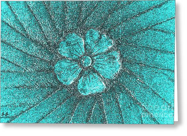 Greeting Card featuring the photograph Fleur Teal by Geri Glavis